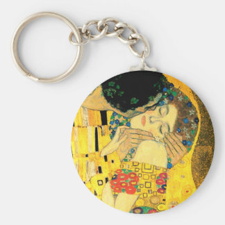 The Kiss by Gustav Klimt Art Nouveau Basic Round Button Keychain
