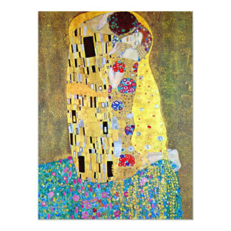 "The Kiss by Gustav Klimt, Art Nouveau Wedding 6.5"" X 8.75"" Invitation Card"