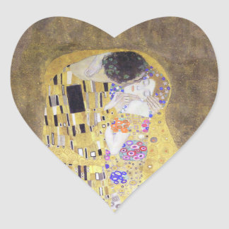 The Kiss by Gustav Klimt Heart Sticker