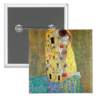 The Kiss by Gustav Klimt, Vintage Art Nouveau 2 Inch Square Button