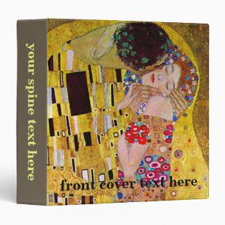 The Kiss by Gustav Klimt, Vintage Art Nouveau 3 Ring Binder