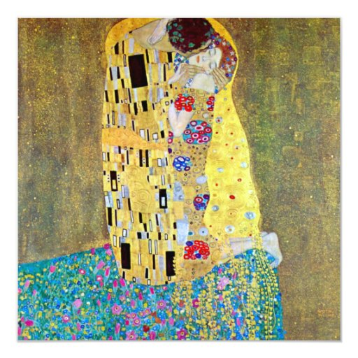 "The Kiss by Gustav Klimt, Vintage Art Nouveau 5.25"" Square Invitation Card"