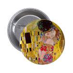 The Kiss by Gustav Klimt, Vintage Art Nouveau Pinback Button