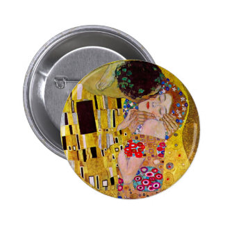 The Kiss by Gustav Klimt, Vintage Art Nouveau Pinback Button