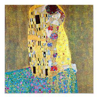 "The Kiss by Gustav Klimt, Vintage Art Nouveau 5.25"" Square Invitation Card"