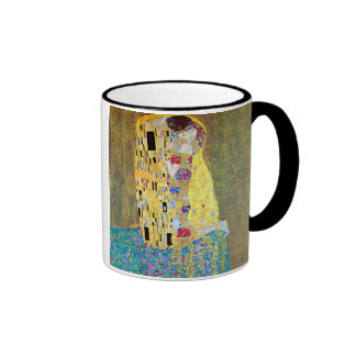 The Kiss by Gustav Klimt, Vintage Art Nouveau Ringer Coffee Mug
