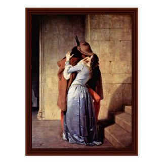 The Kiss By Hayez Francesco Postcard