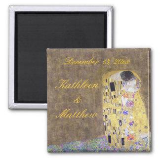 The Kiss by Klimt Anniversary Wedding Custom Square Magnet