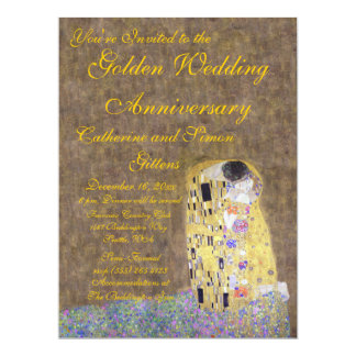 The Kiss by Klimt Golden Wedding Anniversary Invit Card