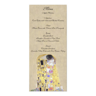 "The Kiss by Klimt Wedding Creamy Sand Menu 4"" X 9.25"" Invitation Card"