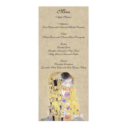 The Kiss by Klimt Wedding Creamy Sand Menu Personalized Invite