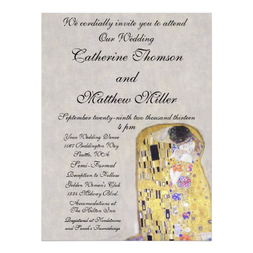 The Kiss by Klimt Wedding White Gold Art Nouveau Personalized Invite