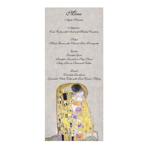 The Kiss by Klimt Wedding White Menu Custom Invitations