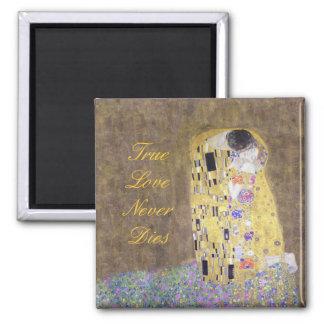 The Kiss Custom Text Gustav Klimt Wedding Square Magnet