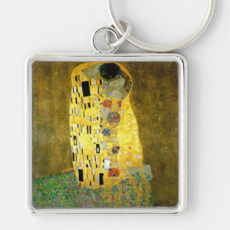 The Kiss ~ Gustav Klimt Silver-Colored Square Keychain