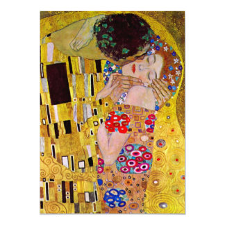 "The Kiss Gustav Klimt, Victorian Art Bridal Shower 5"" X 7"" Invitation Card"