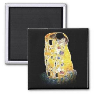 The Kiss Gustav Klimt Yellow Digital Painting Square Magnet