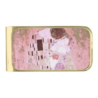 The Kiss in Pinks Gold Finish Money Clip