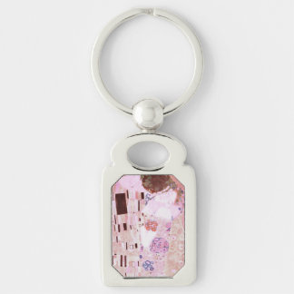 The Kiss in Pinks Silver-Colored Rectangle Keychain