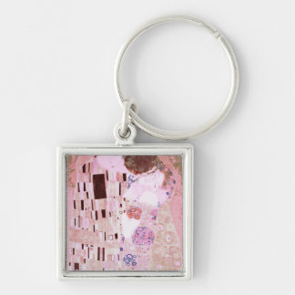 The Kiss in Pinks Silver-Colored Square Keychain