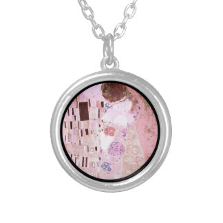 The Kiss in Pinks Silver Plated Necklace