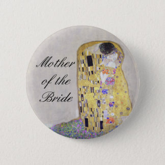 """""""The Kiss"""" Klimt Art Nouveau Wedding Theme White 2 Inch Round Button"""