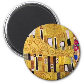 The Kiss Pattern by Gustav Klimt, Art Nouveau 2 Inch Round Magnet