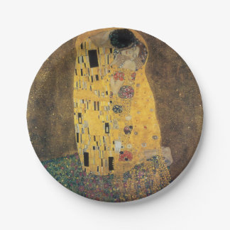 The Kiss, ,reproduction,Gustav Klimt painting,art, Paper Plate