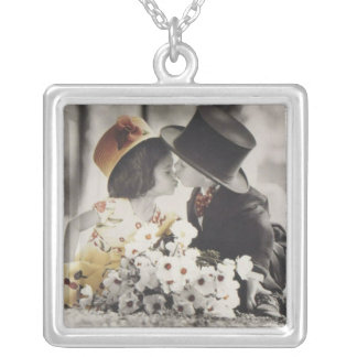 The Kiss Vintage Postcard Sterling Silver Silver Plated Necklace