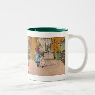 The Kitchen by Carl Larsson Art Print Two-Tone Coffee Mug