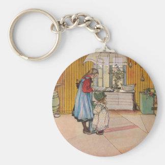 The Kitchen by Carl Larsson Swedish Artist Basic Round Button Keychain