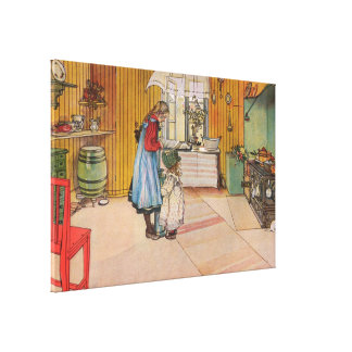 The Kitchen by Carl Larsson Vintage Sweden 1898 Canvas Print