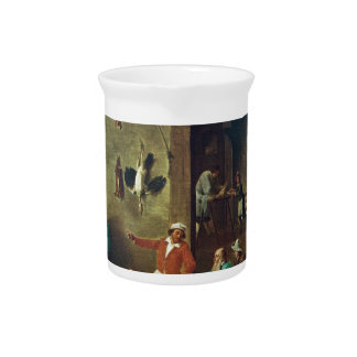 The Kitchen by David Teniers the Younger Drink Pitchers