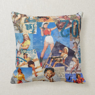 The Kitsch Bitsch : Cowgirl Pin-Ups No.1 & No. 2 Throw Pillow