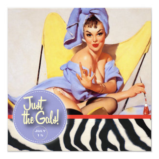 The Kitsch Bitsch : Just The Gals! Spa-tacular! 5.25x5.25 Square Paper Invitation Card