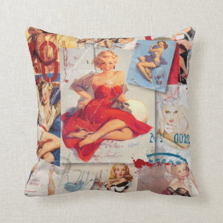 The Kitsch Bitsch : Love Pin-Up Collage 1 Throw Pillow