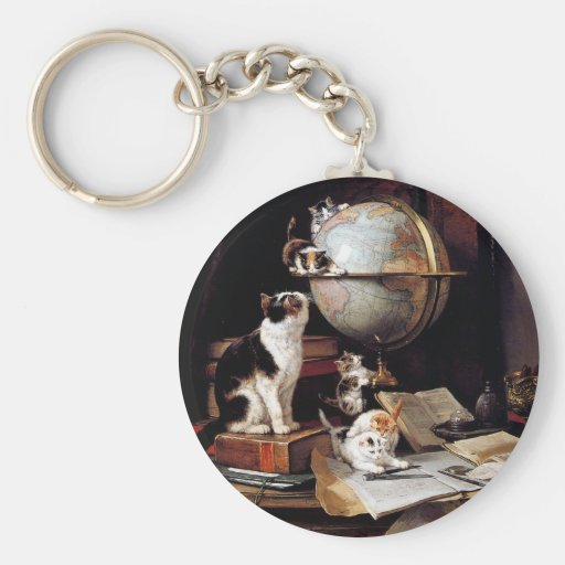The kitten which plays in the globe key chains