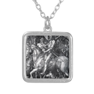 The Knight, Death and the Devil by Albrecht Durer Silver Plated Necklace