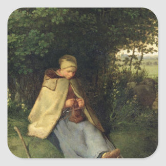 The Knitter or, The Seated Shepherdess, 1858-60 Square Sticker