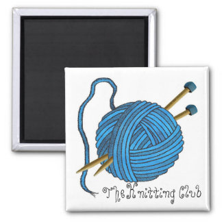 The Knitting Club Magnet - bright blue