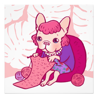 The knitting Frenchie and her scarf Photographic Print