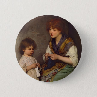 The Knitting Lesson by Eugene de Blaas 2 Inch Round Button