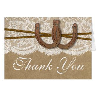 The Kraft, Lace & Horseshoe Wedding Collection Card