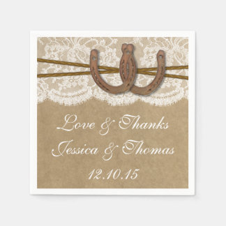 The Kraft, Lace & Horseshoe Wedding Collection Paper Napkins