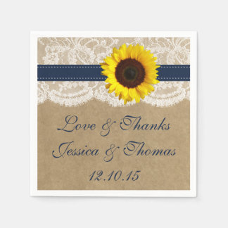 The Kraft, Lace & Sunflower Collection - Navy Disposable Napkins