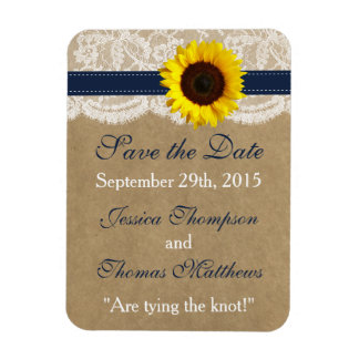 The Kraft, Lace & Sunflower Collection - Navy Rectangular Photo Magnet