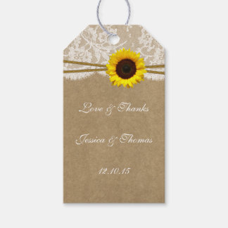 The Kraft, Lace & Sunflower Collection Tags Pack Of Gift Tags
