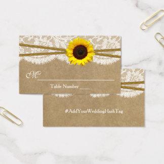 The Kraft, Lace & Sunflower Wedding Escort Cards