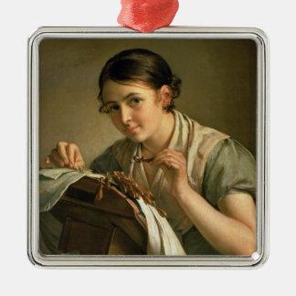 The Lacemaker, 1823 Silver-Colored Square Ornament