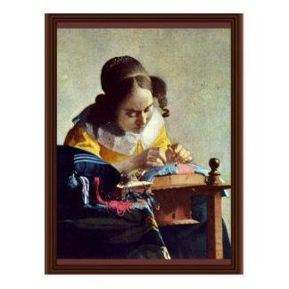 The Lacemaker, Français La Dentelière,  By Vermeer Postcard